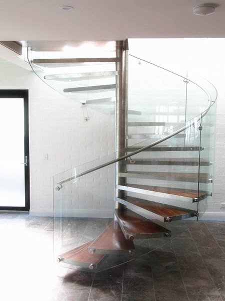 Glass Railing Spiral Staircase | Demax Arch