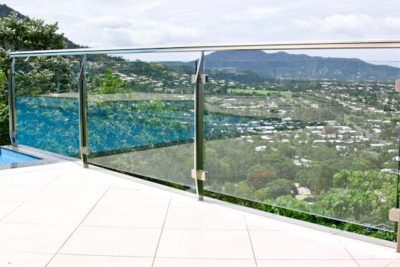 stainless steel p post glass railing for balcony and deck