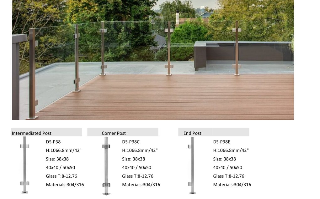 3/8 and 1/2 Glass Infill Stainless Steel Square Post For Glass Railing By Demax Arch