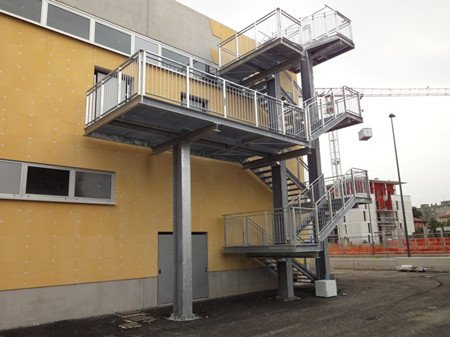 Exterior Steel Staircase Fire Escape For Public Place