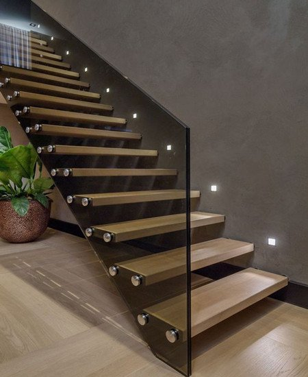Best Floating Staircase With Europe Grey Tinted Glass Railing 400 x 300