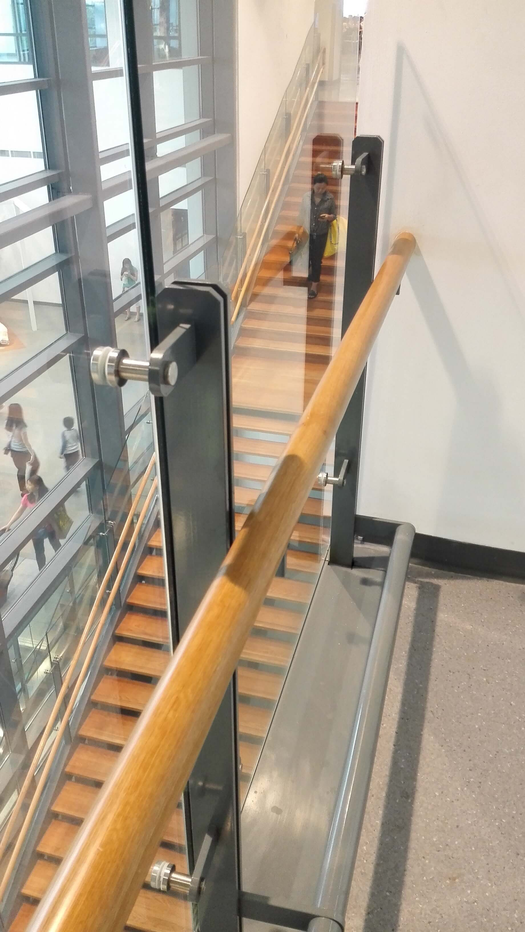 straight run commercial stairs glass railing for IKEA store