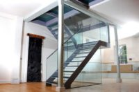 steel glass staircase u shaped with glass railing