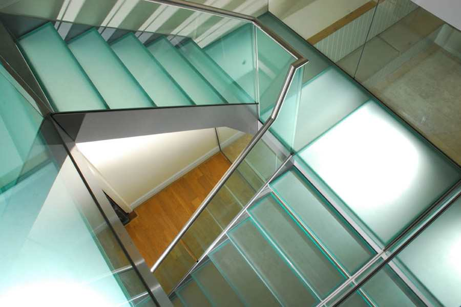 Steel Glass Staircase with Glass Treads and Glass Railing
