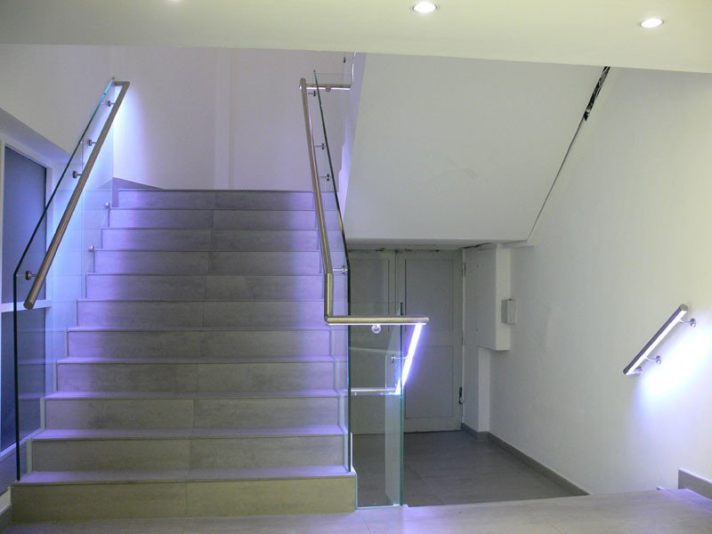 Led light illuminated glass railing for interior and exterior