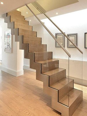 Stainless Steel Zig Zag Staircase With Glass Railing
