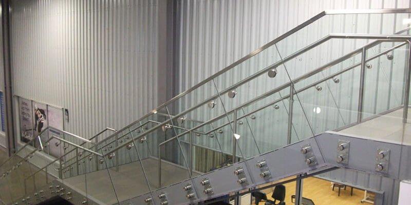 modern stair glass railing frameless glass standoff railing interior railing design 2