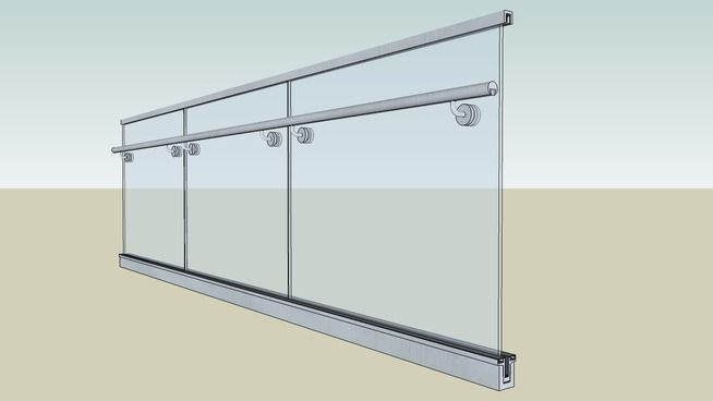 aluminum base shoe commercial glass railing for stair and deck 3D Design