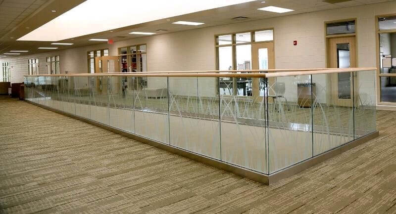 aluminum base shoe channel commercial glass railing with glass printed pattern