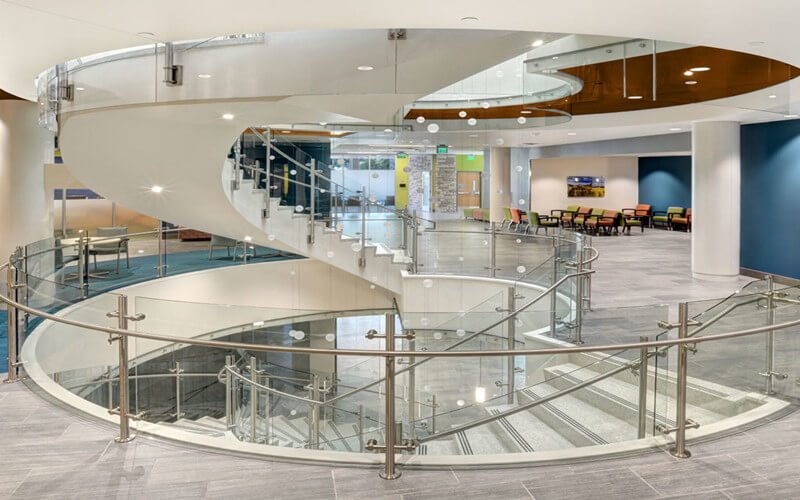 stainless steel post glass railing for commercial staircase interior railing design