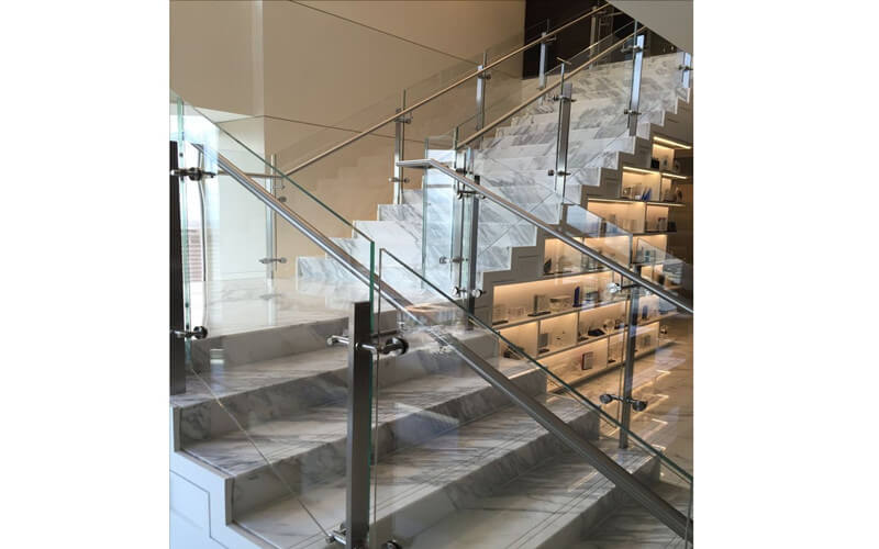 commercial stairs railing design galss panel infill by Foshan Railing Manufacturer Demax Railing
