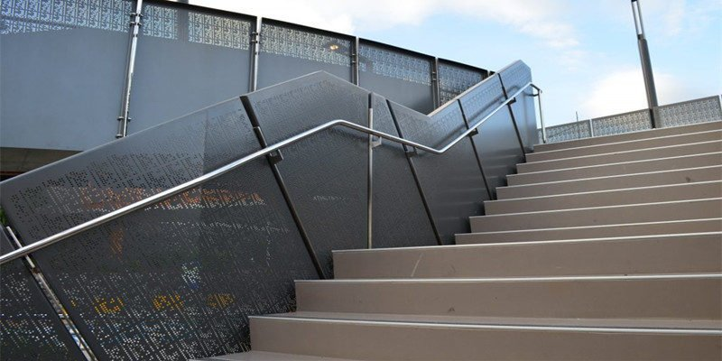 Perforated Metal Panel Railings commercial stair railing design fabricated by china railing supplier demax