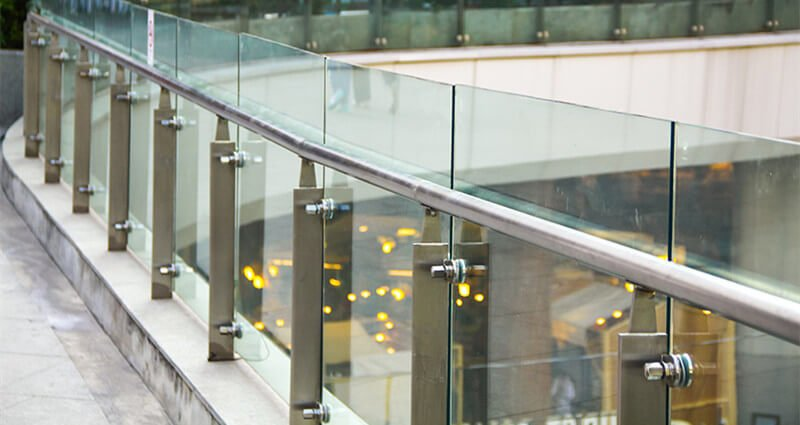 stainless steel p post commercial glass balustrade by China Railing Manufacturer Demax Staircase&Railing