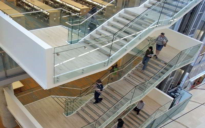stair standoff glass railing for commercial staircase
