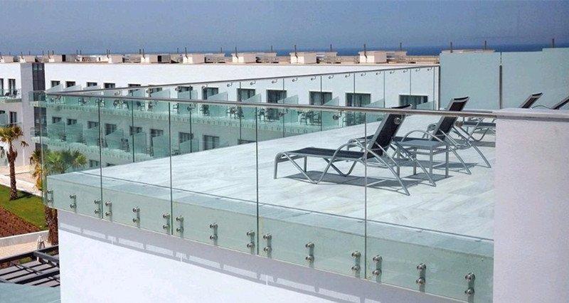 beachfront resort villa glass deck railing design foshan demax
