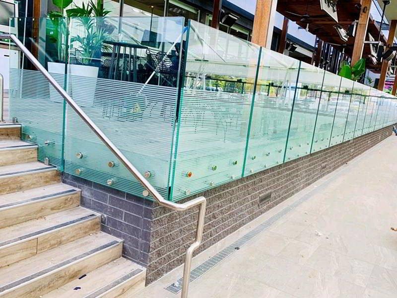 frameless glass standoff railing for deck exterior glass railing design