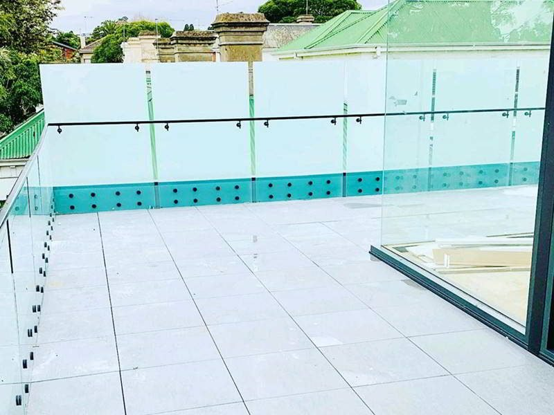 terrace frameless glass railing with frosted glass panel and stainless steel glass standoff point fixing