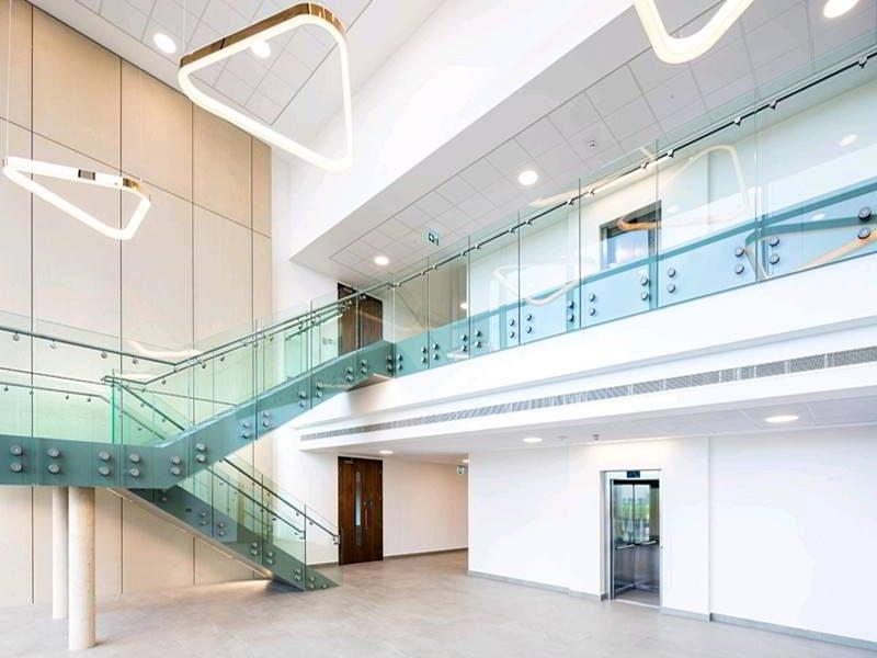 modern stair glass railing frameless glass standoff railing interior railing design