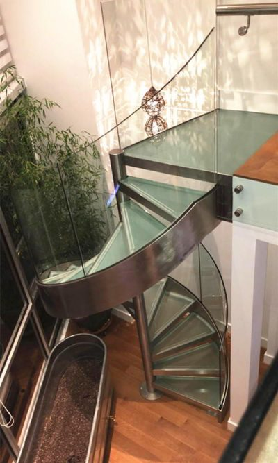 stunning curved glass railing stainless steel spiral glass staircase project in Washington USA