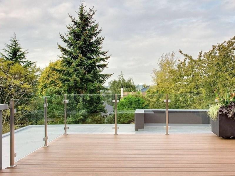 composite deck stainless steel post glass deck railing foshan demax